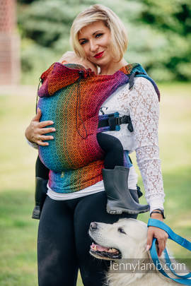Ergonomic Carrier, Toddler Size, jacquard weave 100% cotton - wrap conversion from BIG LOVE RAINBOW DARK, Second Generation