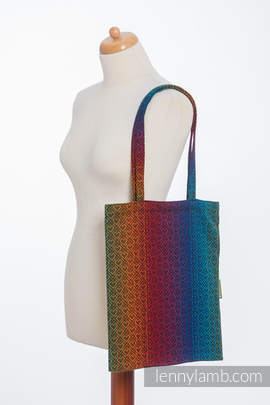 Shopping bag made of wrap fabric (100% cotton) - BIG LOVE RAINBOW DARK
