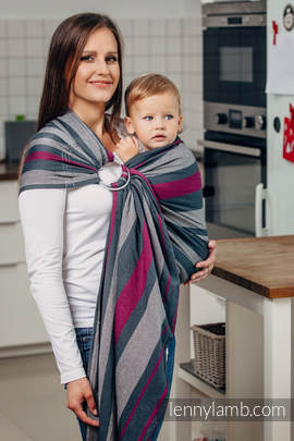 Ring Sling - 100% Cotton - Broken Twill Weave, with gathered shoulder - SMOKY - FUCHSIA  (grade B)