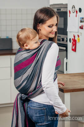 Baby Sling, Broken Twill Weave, 100% cotton,  SMOKY - FUCHSIA - size L