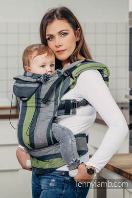 Ergonomic Carrier, Toddler Size, broken-twill weave 100% cotton - wrap conversion from SMOKY - LIME - Second Generation.