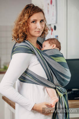 Baby Sling, Broken Twill Weave, 100% cotton,  SMOKY - LIME - size S