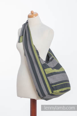Hobo Bag made of woven fabric, 100% cotton - SMOKY - LIME