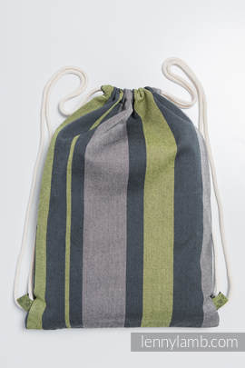 Sackpack made of wrap fabric (100% cotton) - SMOKY - LIME - standard size 32cmx43cm