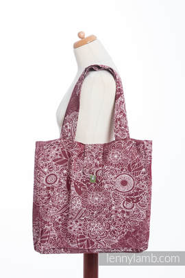 Shoulder bag made of wrap fabric (100% cotton) - WILD WINE - standard size 37cmx37cm