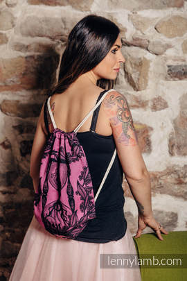 Sackpack made of wrap fabric (100% cotton) - TIME BLACK & PINK (with skull) - standard size 32cmx43cm