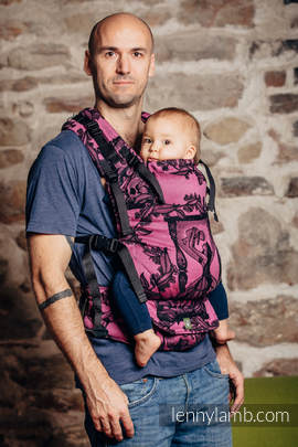 LennyUp Carrier, Standard Size, jacquard weave 100% cotton - wrap conversion from TIME BLACK & PINK (with skull)