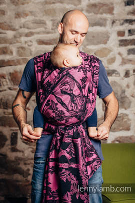 Baby Wrap, Jacquard Weave (100% cotton) - TIME BLACK & PINK (with skull) - size L
