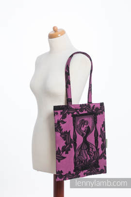 Shopping bag made of wrap fabric (100% cotton) - TIME BLACK & PINK (with skull)