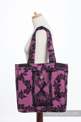 Shoulder bag made of wrap fabric (100% cotton) - TIME BLACK & PINK (with skull) - standard size 37cmx37cm