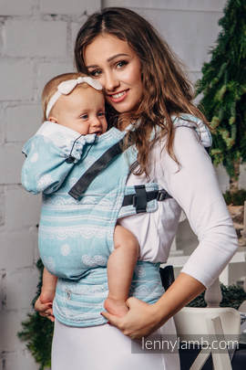 Ergonomic Carrier, Baby Size, jacquard weave 60% cotton 28% linen 12% tussah silk - wrap conversion from ARCTIC LACE, Second Generation
