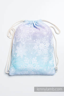 Sackpack made of wrap fabric (96% cotton, 4% metallised yarn) - GLITTERING SNOW QUEEN - standard size 32cmx43cm