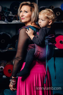 Lenny Buckle Onbuhimo, Toddler size, jacquard weave (60% combed cotton, 28% Meriono wool, 8% silk, 4% cashmere) - Wrap conversion from BIG LOVE - BLACK OPAL