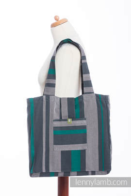 Shoulder bag made of wrap fabric (100% cotton) - SMOKY - MINT - standard size 37cmx37cm