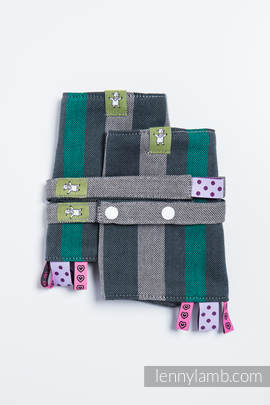 Drool Pads & Reach Straps Set, (100% cotton) - SMOKY - MINT (grade B)