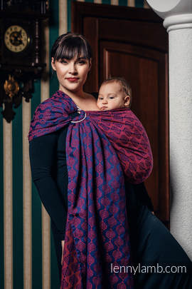 Ringsling, Jacquard Weave (60% cotton, 36% merino wool, 4% metallised yarn), with gathered shoulder - AMARYLLIS PETALS