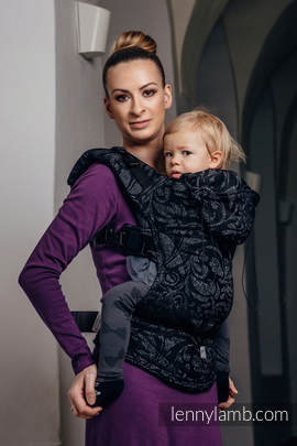 Ergonomic Carrier, Toddler Size, jacquard weave 96% cotton, 4% metallised yarn - wrap conversion from TWISTED LEAVES METAL & DUST - Second Generation