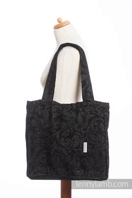 Shoulder bag made of wrap fabric (96% cotton, 4% metallised yarn) - TWISTED LEAVES METAL & DUST - standard size 37cmx37cm