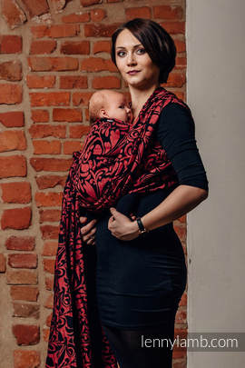 Baby Wrap, Jacquard Weave (60% cotton 28% linen 12% tussah silk) - TWISTED LEAVES - PINCH OF CHILLI - size XL