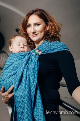 Ringsling, Jacquard Weave (100% cotton) - COULTER NAVY BLUE & TURQUOISE