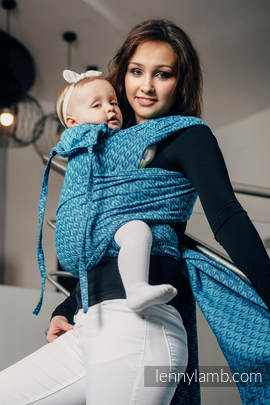 WRAP-TAI carrier Toddler with hood/ jacquard twill / 100% cotton / COULTER NAVY BLUE & TURQUOISE