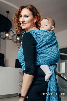 Baby Wrap, Jacquard Weave (100% cotton) - COULTER NAVY BLUE & TURQUOISE  - size S