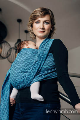 Baby Wrap, Jacquard Weave (100% cotton) - COULTER NAVY BLUE & TURQUOISE  - size XL