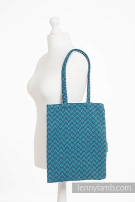 Shopping bag made of wrap fabric (100% cotton) - COULTER NAVY BLUE & TURQUOISE
