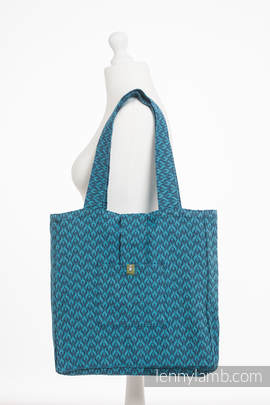 Shoulder bag made of wrap fabric (100% cotton) - COULTER NAVY BLUE & TURQUOISE - standard size 37cmx37cm