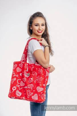 Shoulder bag made of wrap fabric (100% cotton) - SWEET NOTHINGS - standard size 37cmx37cm