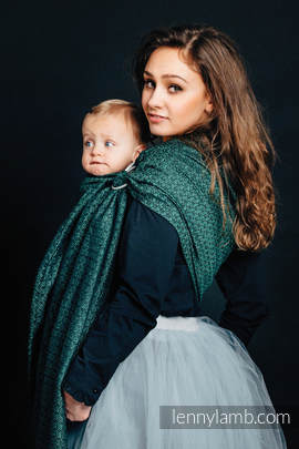 Ringsling, Jacquard Weave, with gathered shoulder (60% cotton 28% linen 12% tussah silk) - LITTLE LOVE - IVY