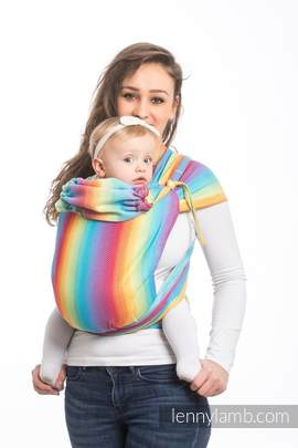 WRAP-TAI carrier Mini with hood/ herringbone twill / 82% cotton, 18% bamboo viscose / LITTLE HERRINGBONE RAINBOW LIGHT