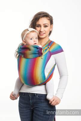 WRAP-TAI carrier Toddler with hood/ herringbone twill / 100% cotton / LITTLE HERRINGBONE RAINBOW NAVY BLUE