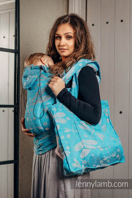 Shoulder bag made of wrap fabric (66% cotton, 34% bamboo) - DRAGONFLY GREY & TURQUOISE - standard size 37cmx37cm