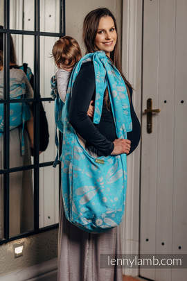 Hobo Bag made of woven fabric, 66% cotton, 34% bamboo - DRAGONFLY GREY & TURQUOISE