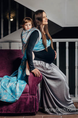 Baby Wrap, Jacquard Weave (66% cotton, 34% bamboo) - DRAGONFLY GREY & TURQUOISE - size S