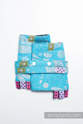 Drool Pads & Reach Straps Set, (66% cotton, 34% bamboo) - DRAGONFLY GREY & TURQUOISE