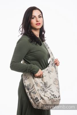 Hobo Bag made of woven fabric, 100% cotton - HERBARIUM