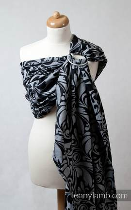 Ringsling, Jacquard Weave (100% cotton), with gathered shoulder - Twisted Leaves Black & White (grade B)