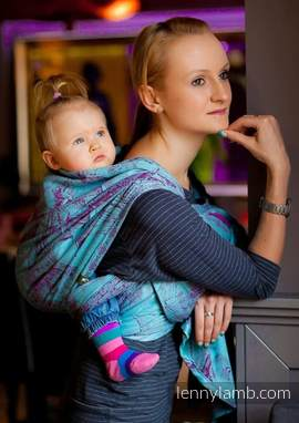 Baby Wrap, Jacquard Weave (100% cotton) - Galleons Red & Turquoise - size M (grade B)