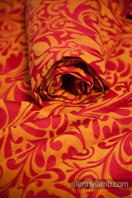 Ringsling, Jacquard Weave (100% cotton) - Twisted Leaves Red & Orange (grade B)