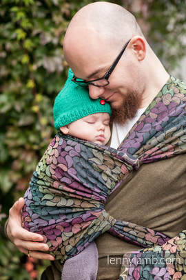 Baby Wrap, Jacquard Weave (100% cotton) - COLORS OF RAIN - size XS