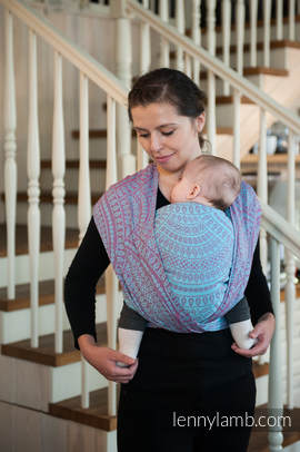Baby Wrap, Jacquard Weave (100% cotton) - PEACOCK'S TAIL - size XS