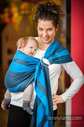 Ring Sling - 100% Cotton with gathered shoulder - Broken Twill Weave -  Ocean Depth (grade B)